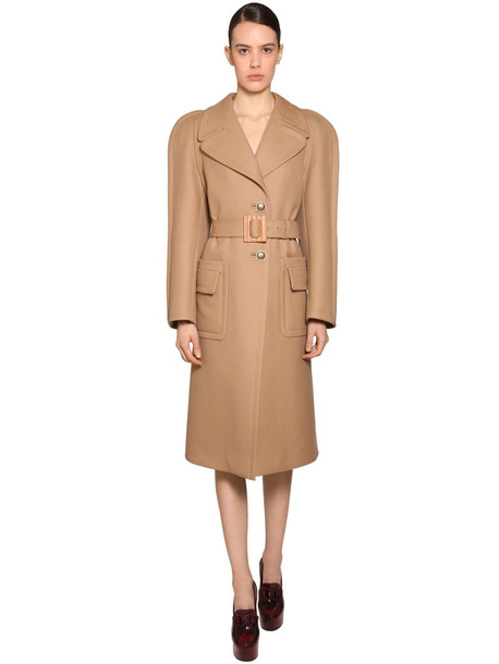 GIVENCHY Round Shoulder Double Wool Coat in camel