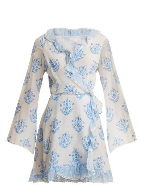 Athena Procopiou - Vagabond Long Sleeve Wrap Dress - Womens - Blue White