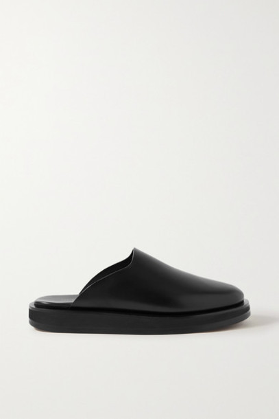 The Row - Sabot Leather Mules - Black
