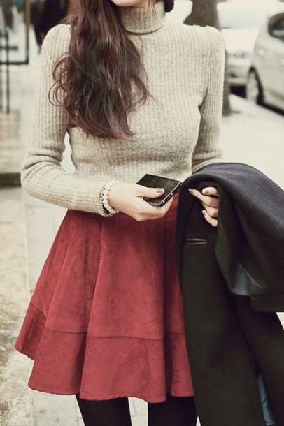 skirt burgundy fashion style sweater turtleneck shirt warm cozy jumper classy red red sweater cute