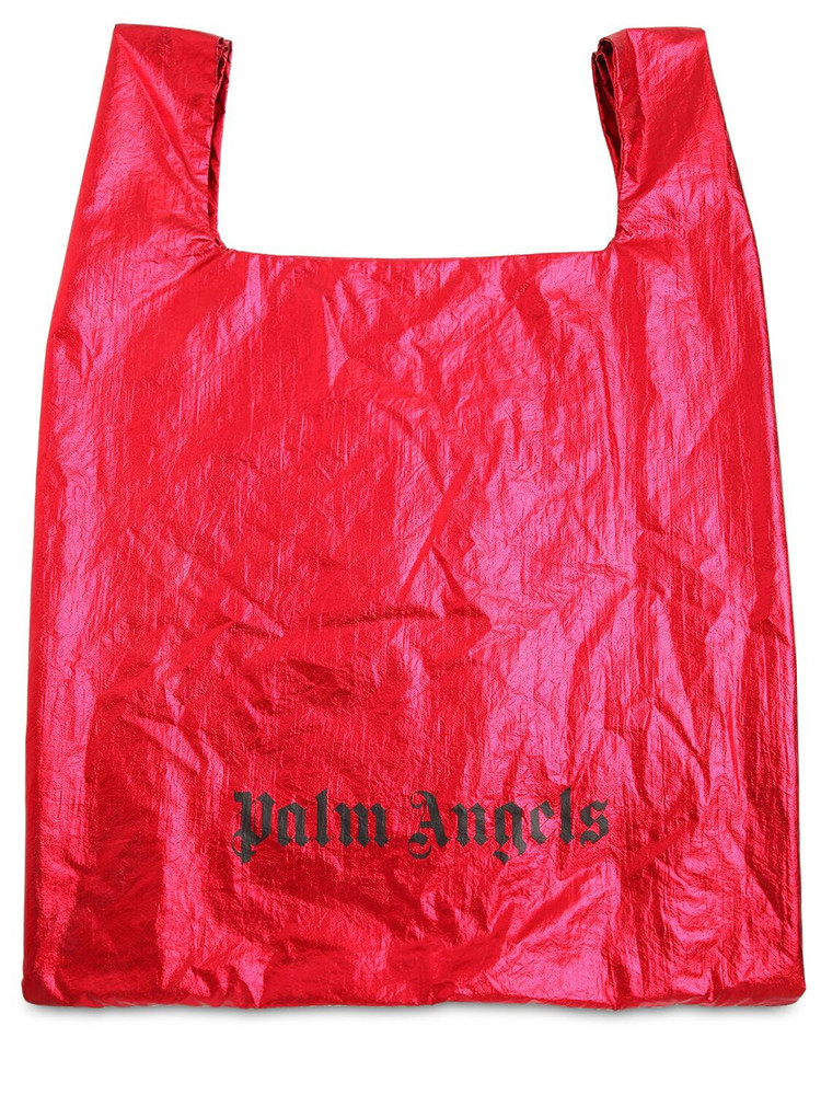 PALM ANGELS Metallic Nylon Tote Bag in red