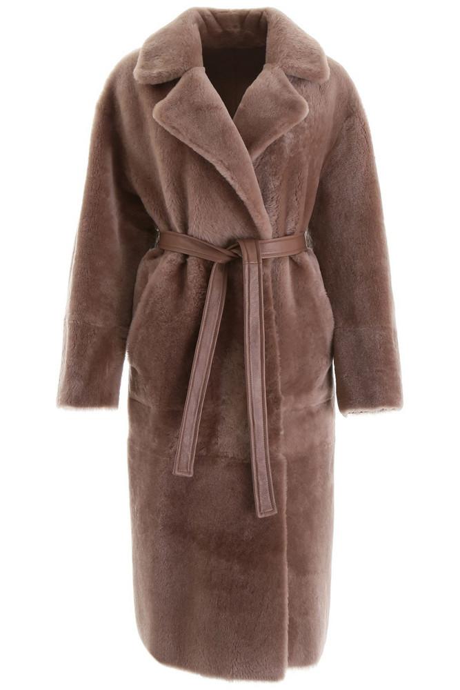 Blancha Reversible Shearling Coat in stone / beige