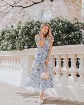 dress,maxi dress,sleeveless dress,mules,handbag,off the shoulder dress
