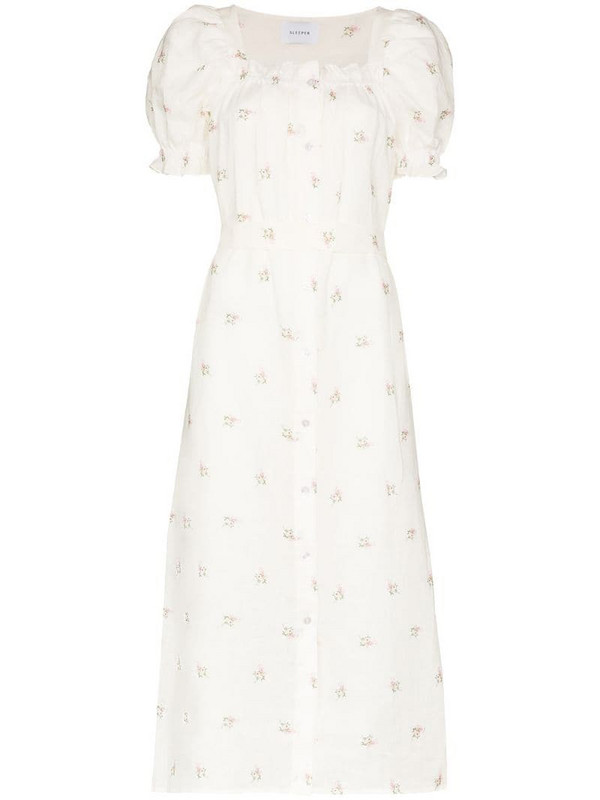Sleeper floral-embroidered midi dress in white