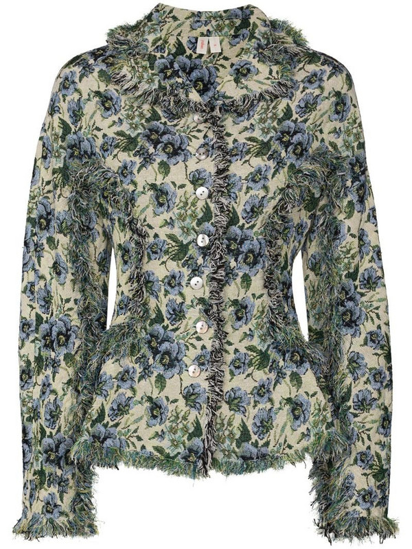 yuhan wang floral-print button-down jacket in neutrals
