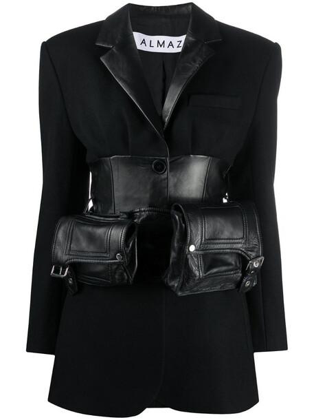 Almaz belted waist blazer in black