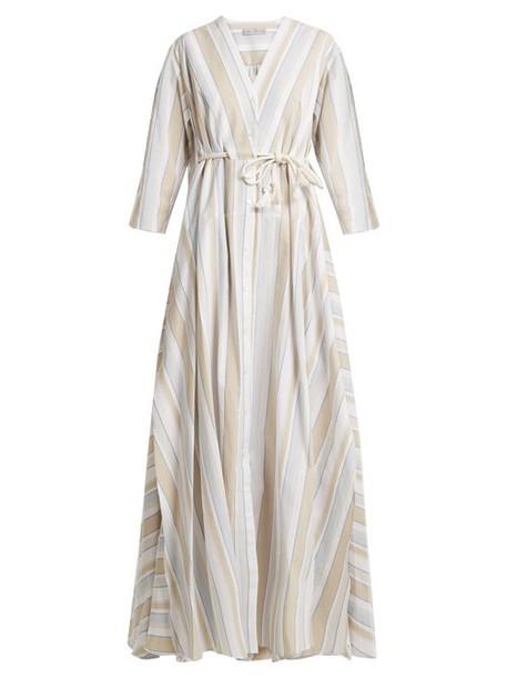Palmer/harding Palmer//harding - Striped Drawstring Waist Cotton Blend Maxi Dress - Womens - Beige Multi