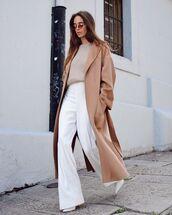 coat,long coat,zara,white pants,wide-leg pants,high waisted pants,white boots,sweater
