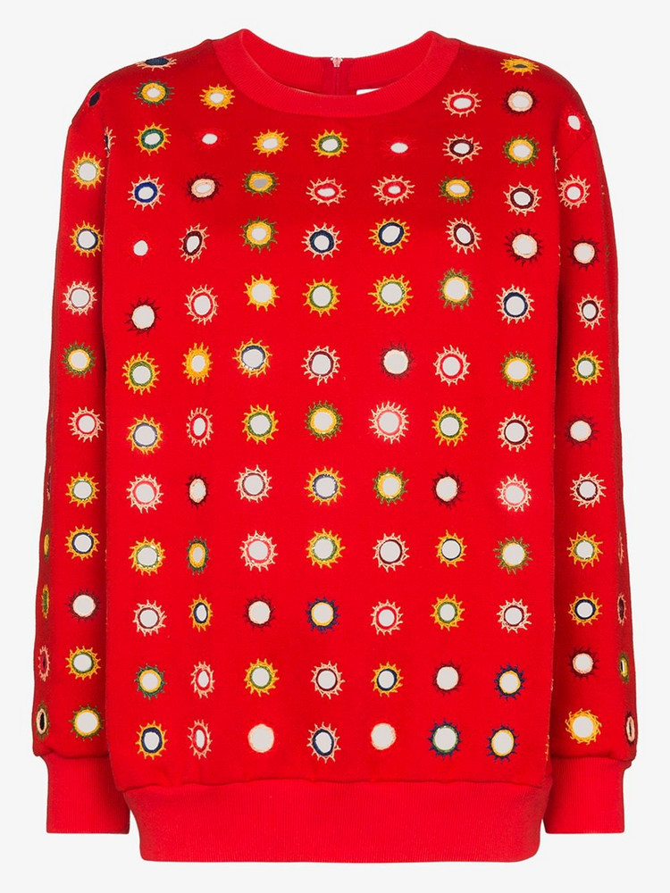 Ashish embroidered sequin sweatshirt in red