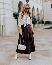 skirt,pleated skirt,maxi skirt,white boots,ankle boots,white bag,gucci bag,white shirt