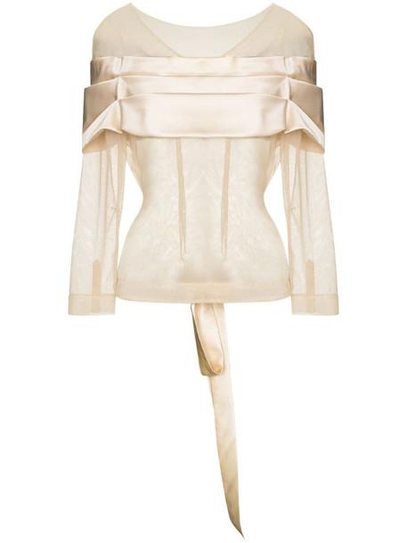 Simone Rocha sheer pleated-detail blouse in neutrals