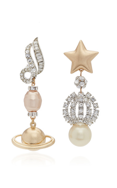 Lulu Frost Saturn Gold-Plated And Crystal Clip Earrings