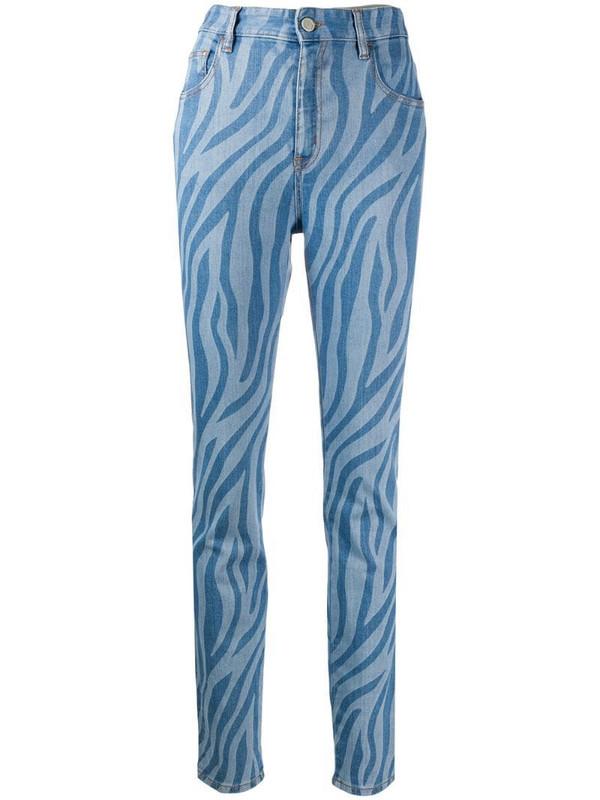Just Cavalli zebra-print jeans in blue