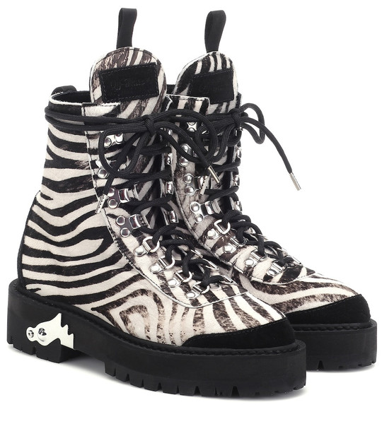 Off-White Zebra-effect calf hair ankle boots in white