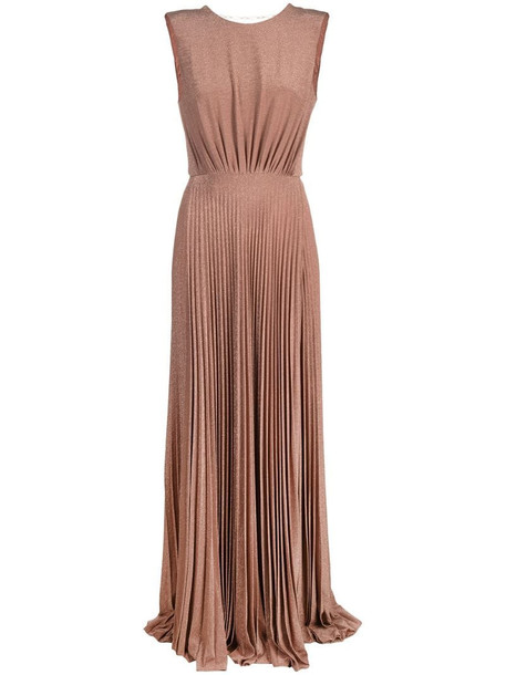Elisabetta Franchi long pleated gown in pink