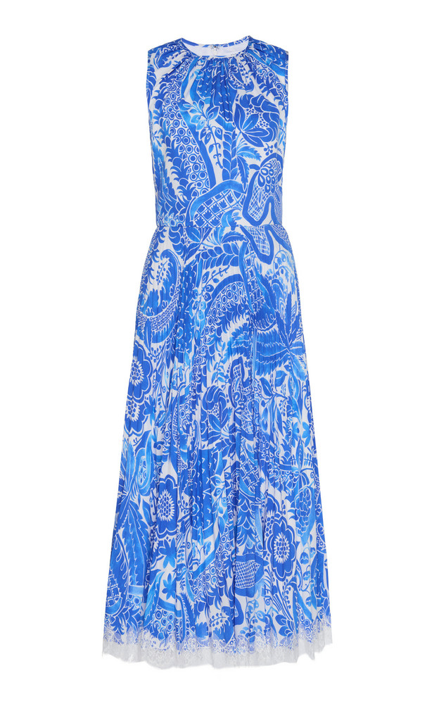 Andrew Gn Pleated Ruched Printed Silk Dress Size: 34 in multi