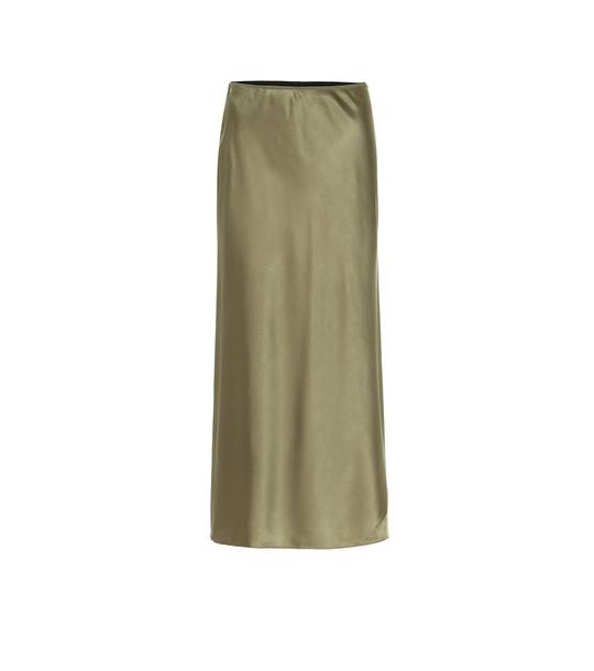 Dorothee Schumacher Sense of Shine satin midi skirt in green