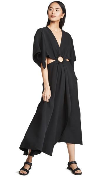 3.1 Phillip Lim Short Sleeve Crepe Maxi Dress in black