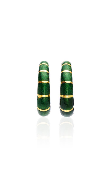 Eleuteri Vintage Bulgari 18K Yellow Gold and Enamel Earrings