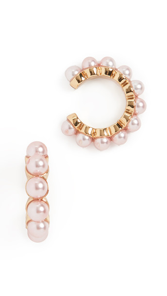 BaubleBar Clasina Ear Cuff Set in gold / pink