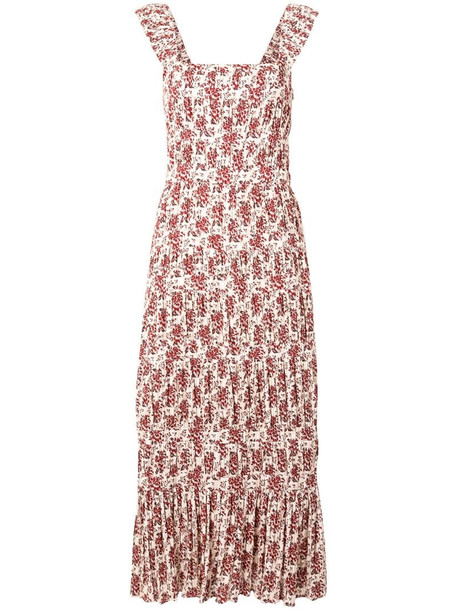 Sir. Flore panelled midi dress in red