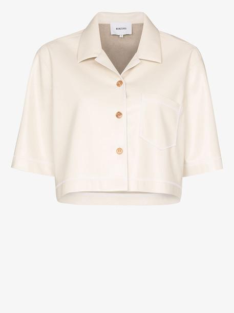 Nanushka Rhett vegan leather shirt in neutrals