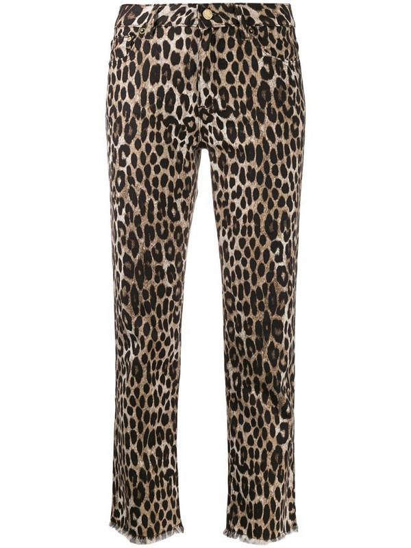 Michael Michael Kors leopard print cropped jeans in neutrals