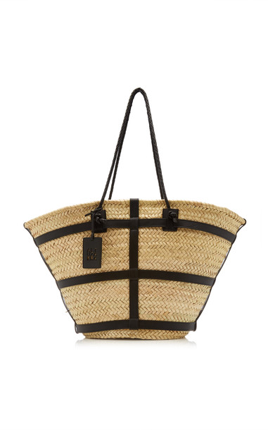 Altuzarra Large Watermill Woven Palm And Leather Tote in black