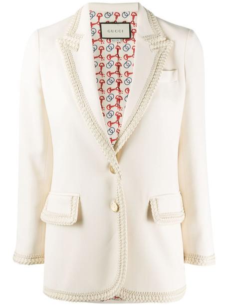Gucci braided trim single-breasted blazer in neutrals