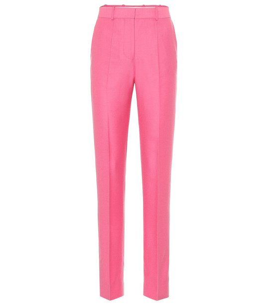 Victoria Victoria Beckham Mid-rise straight wool-flannel pants in pink
