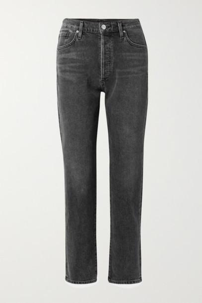 Goldsign - The Benefit High-rise Straight-leg Jeans - Dark gray