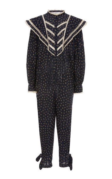 Isabel Marant Étoile Realia Lace-Trimmed Cotton Jumpsuit in black