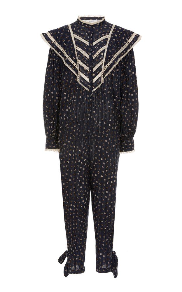 Isabel Marant Étoile Realia Lace-Trimmed Cotton Jumpsuit in black