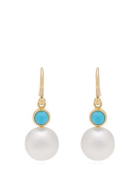 Irene Neuwirth - Yellow Gold, Turquoise And Pearl Earrings - Womens - Pearl