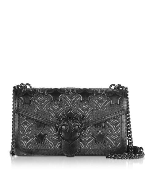 Pinko Black Leather Love Starry Sky Studded Shoulder Bag