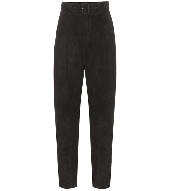 Stouls Murray high-rise suede pants in black