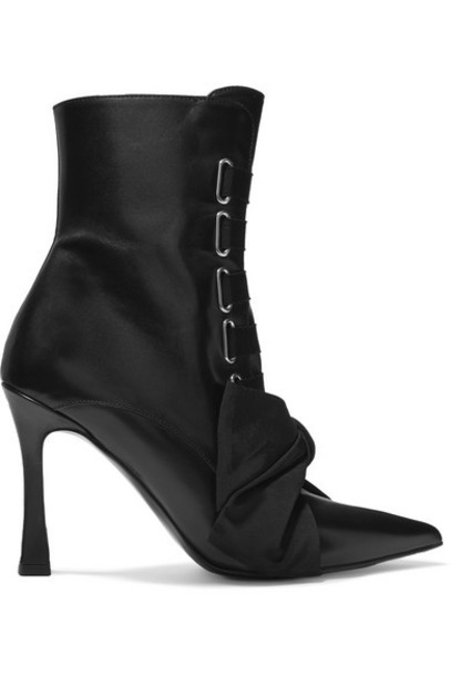 Tabitha Simmons - Farren Bow-embellished Leather Ankle Boots - Black