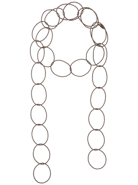 Brunello Cucinelli beaded chain necklace in brown