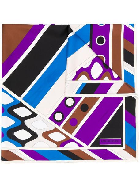 Emilio Pucci geometric print silk scarf in blue