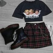 shirt,graphic tee,skirt,plaid skirt,black,angel,red,green,white,oversized,loose