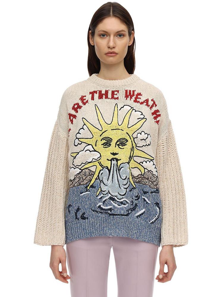 STELLA MCCARTNEY Oversize Sun Cotton & Linen Sweater in ivory / multi