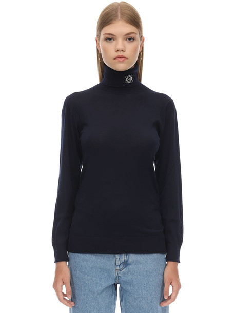 LOEWE Anagram Logo Cashmere Knit Turtleneck in navy