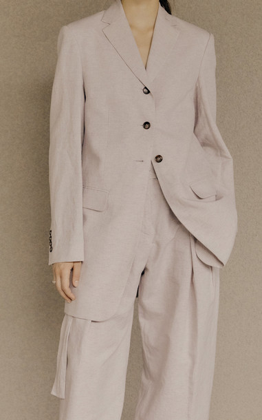 Low Classic Long Cotton-Linen Blazer in purple