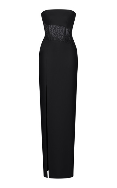 Rasario Asymmetrical Crepe And Lace Corset Gown in black