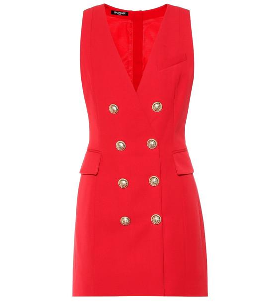 Balmain Embellished wool minidress in red
