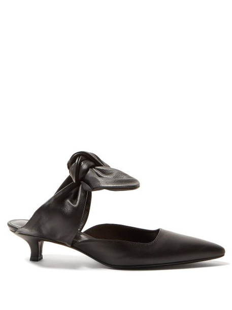 The Row - Coco Leather Kitten Heel Mules - Womens - Black