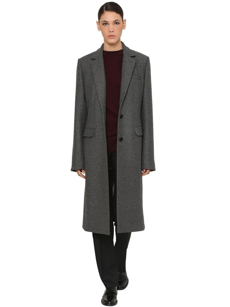 NINA RICCI One Breast Wool Gabardine Coat in grey