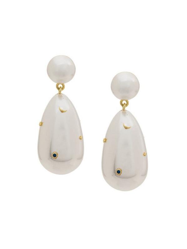 Eshvi pearl drop earrings in white