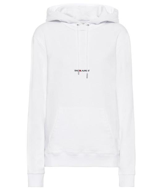 Saint Laurent Logo cotton-jersey hoodie in white