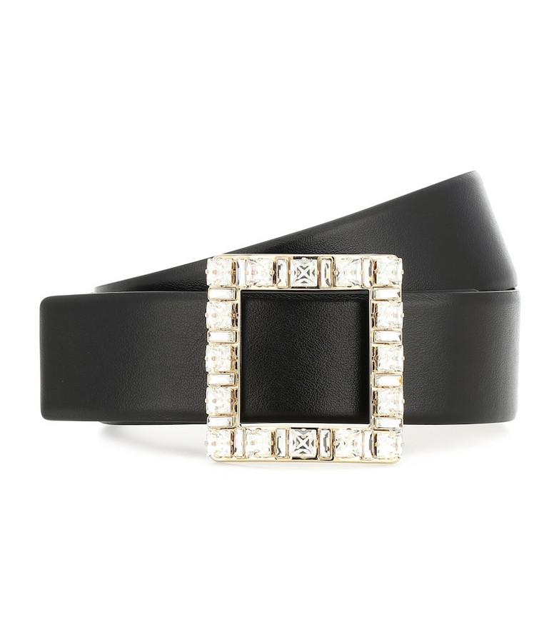 Roger Vivier Embellished leather belt in black